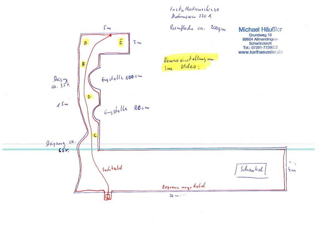 Installationsskizze Automower 330X - schwierige Rasenroboter-Installation